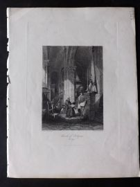 Fisher (Pub) 1846 Antique Print. Church of Polignac, Auvergne, France